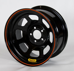 Bassett 14x7 5x100mm bolt pattern spun lightweight wheel in black powder coat