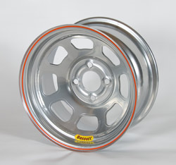Bassett 14x7 4x4.25 bolt pattern spun lightweight wheel in silver